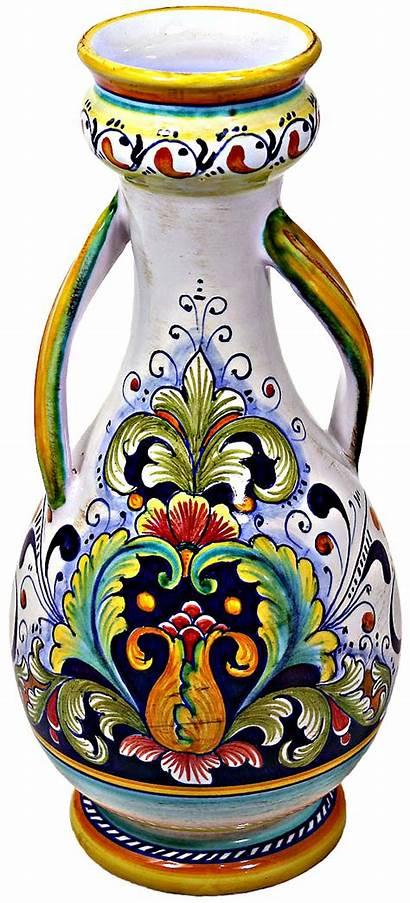 Vase Ceramic Italian Deruta Ceramica Pottery Flower