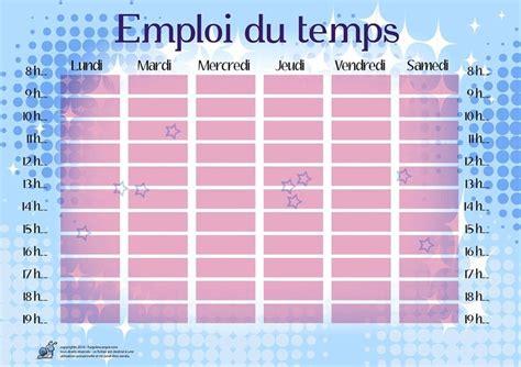 horaires de bureau emplois du temps