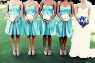 aqua blue bridesmaid dresses aqua strapless bridesmaids dresses and white bridesmaid bouquets onewed
