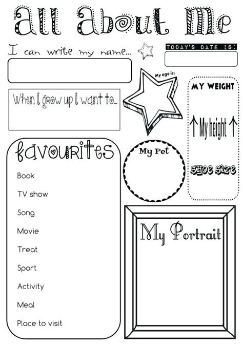 all about me coloring pages worksheets all about me