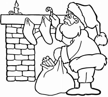 Coloring Santa Pages Fireplace Christmas Printable Workshop