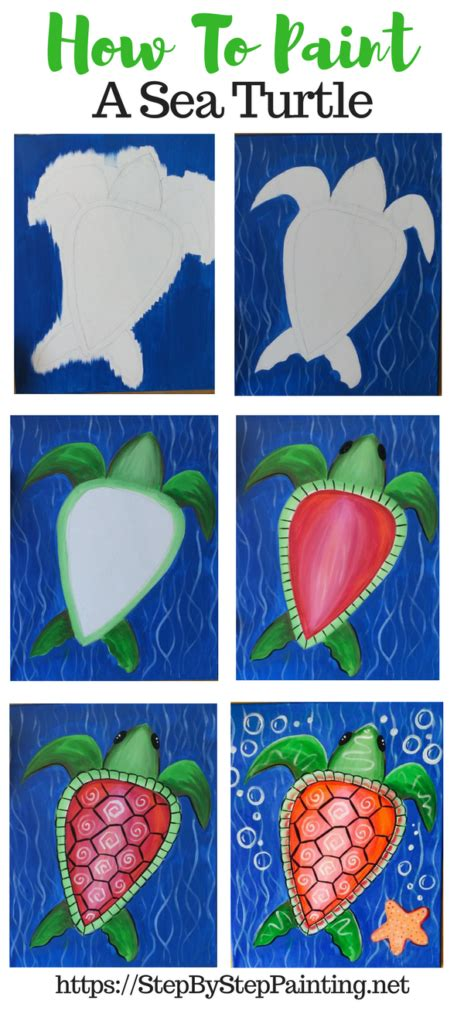 How To Paint A Sea Turtle  Step By Step Painting