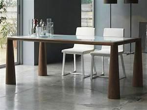 Table Plateau Verre Pied Bois : table verre avec pied bois ~ Melissatoandfro.com Idées de Décoration