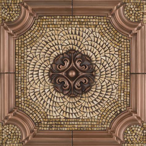 kitchen backsplash metal medallions metal mural romeo mosaic tile backsplash 5048
