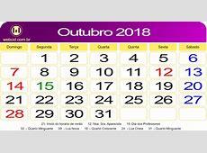Calendário de Outubro de 2018 webcid