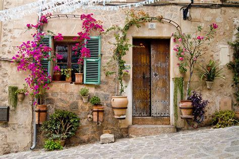 door flowers plants stone bougainvillea wallpapers hd