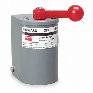 Dayton Maintained Reversing Plastic Drum Switch  3 Pole  Nema Rating 1 - 2x441