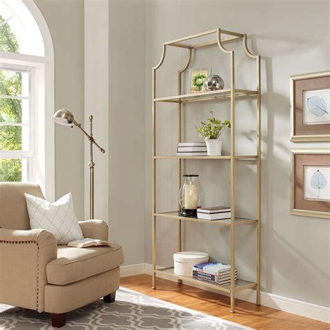 Crosley Furniture Aimee Gold Glass Etagere Cf6101 Gl