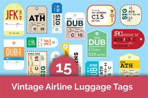 Creativemarket 15 Vintage Airline Luggage Tags All 15 Vintage Airline Luggage Tags Objects On Creative Market