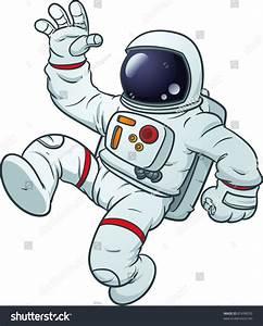 Cartoon Astronaut Floating Vector Illustration Simple ...