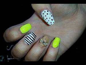 Acrylic Nails l Neon Yellow White l Nail Design