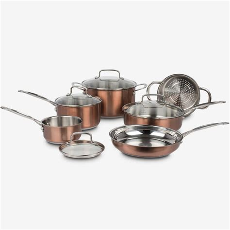 piece classic collection metallic stainless steel cookware set copper