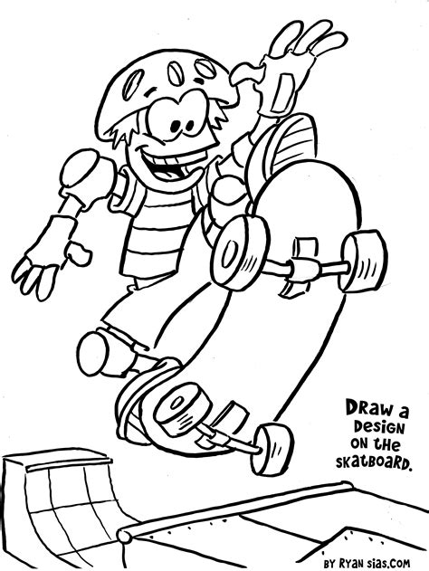printable sports coloring pages skateboard