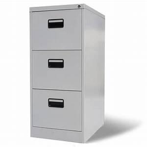 Range Document Metal : armoire de bureau en m tal 3 tiroirs gris meuble rangement de documents 102 5 x 45 5 x 62 cm ~ Teatrodelosmanantiales.com Idées de Décoration
