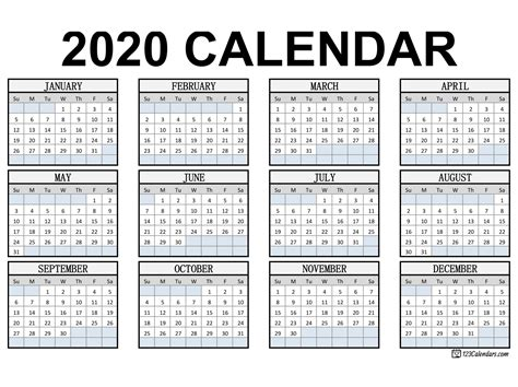 Select a category from the printable calendar. Free Printable 2020 Calendar | 123Calendars.com