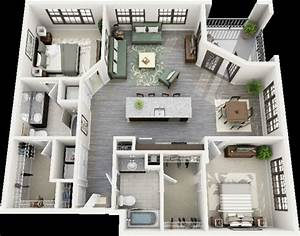 50 plans 3d d39appartement avec 2 chambres With 3 bright unique inspirations home interior design