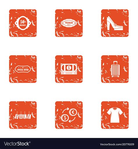 cash nexus icons set grunge style royalty  vector image