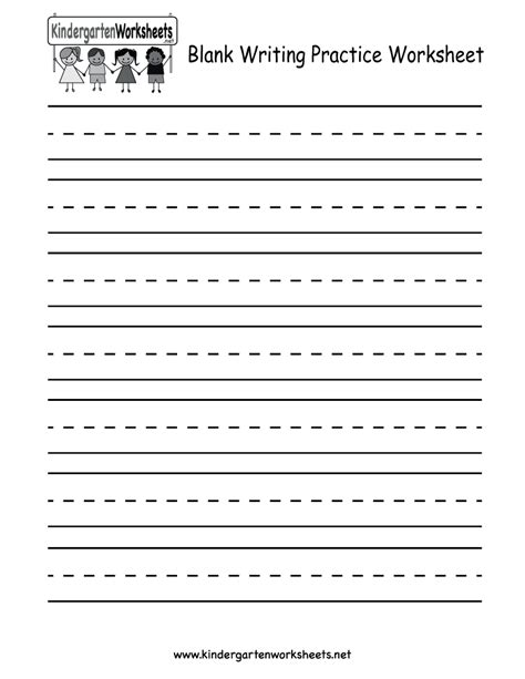 worksheets writing for kindergarten kindergarten blank writing practice worksheet printable