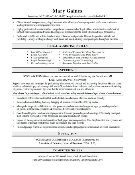 assistant resume template assistant resume sle