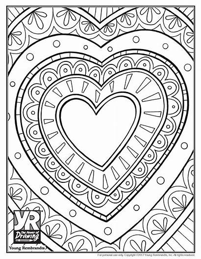 Coloring Heart Pages Printable Adults Detailed Sheet