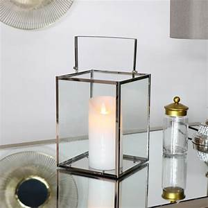 Silver, Glass, Candle, Lantern, With, Led, Candle