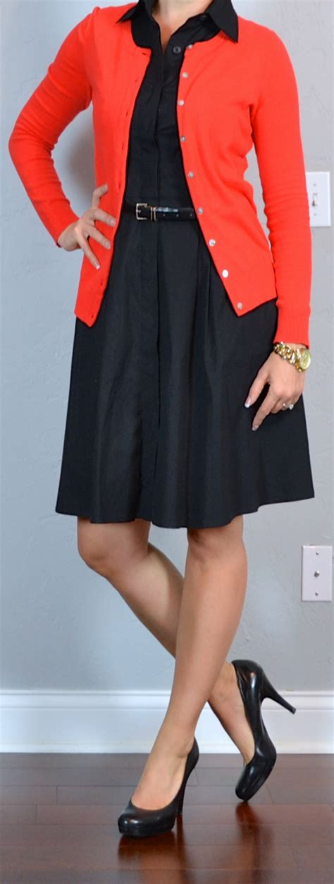Outfit post black shirt dress red cardigan black pumps | Outfit Posts