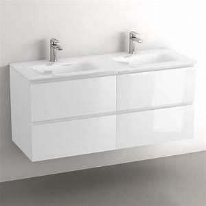 Meuble Double Vasque Suspendu : glass3 meuble salle de bain suspendu blanc brillant 120 cm double vasques verre ~ Melissatoandfro.com Idées de Décoration