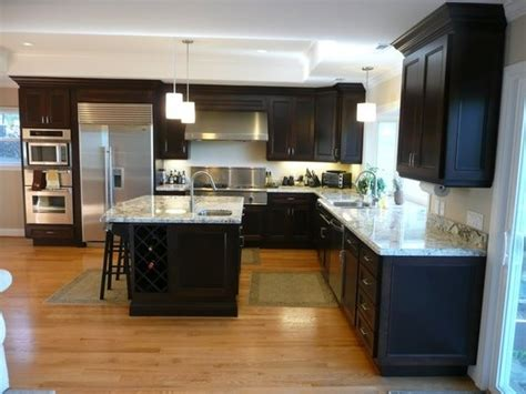 espresso kitchen cabinets with light floors espresso kitchen cabinets light wood floor for the home