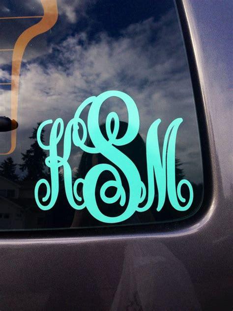 monogrammed car decal  preppybowsandsass  etsy