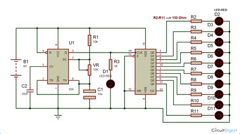 Led Chaser Circuit Diagram Circuits Electronic