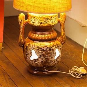 Pied De Lampe Ceramique : lampe de sol vintage pied en c ramique et abat jour tissu luckyfind ~ Teatrodelosmanantiales.com Idées de Décoration