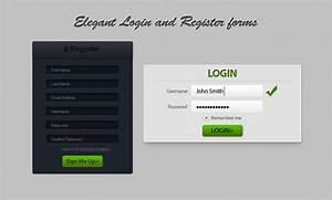 Clean dark form login register ui PSD file Free Download