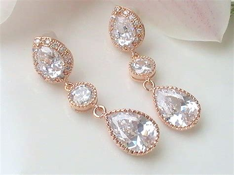 Wedding Jewelry Gold : Crystal Bridal Earrings- Rose Gold Cubic Zirconia Earrings
