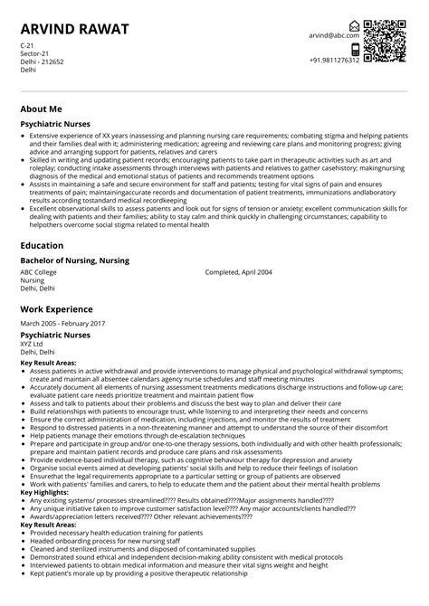 psychiatric nurses resume sample ready
