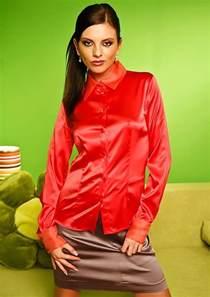 Red Satin Blouse Women