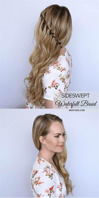 Braid Waterfall Sideswept Hairstyles Hair Tutorial Missysue