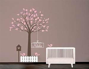 Pochoir Peinture Murale : pochoir mural arbre avec oiseaux nichoir et nom pochoir ~ Premium-room.com Idées de Décoration