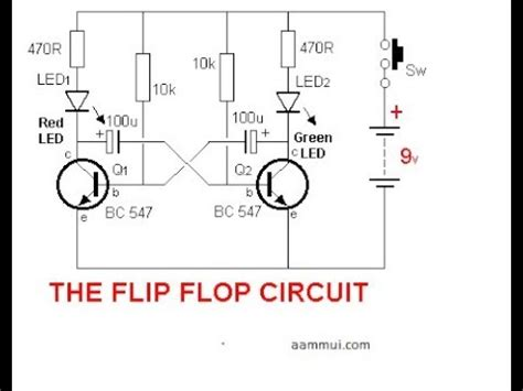 Simple Flip Flop Circuit Using Two Transistors Youtube