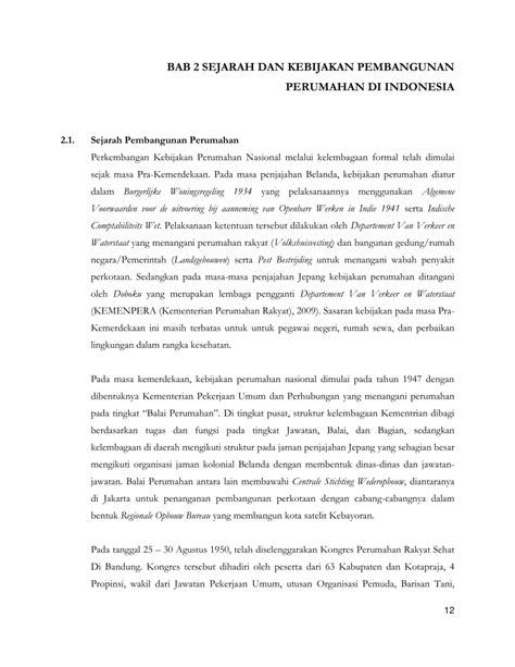 (PDF) BAB 2 SEJARAH DAN KEBIJAKAN PEMBANGUNAN PERUMAHAN DI
