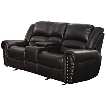 Leather Reclining Loveseat With Center Console by Homelegance 9668blk 2 Glider Reclining