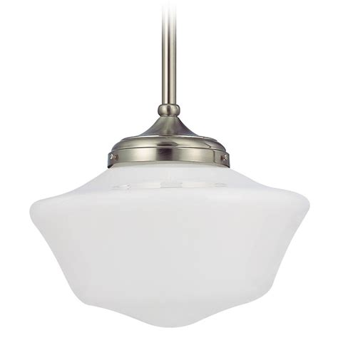 schoolhouse pendant light 14 inch schoolhouse pendant light in satin nickel finish