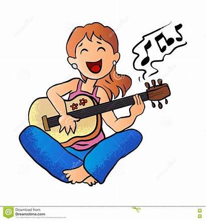 Guitar Playing Cartoon Flicka Clipart Song Spelar