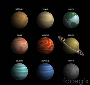 Beautiful solar system's nine planets, vector diagrams ...