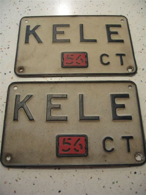 Mass Rmv Vanity Plate Availability by Pair Of1956 Connecticut Vanity License Plate Quot Kele Quot Ebay