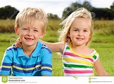 Cute young kids outdoors stock image. Image of portrait ...