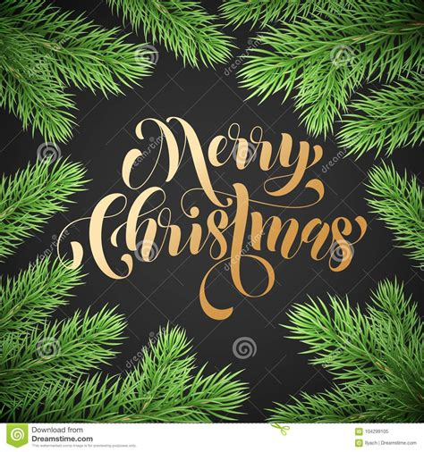 Merry Christmas Trendy Quote Golden Calligraphy On Black