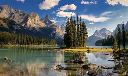 Canada Lake Spirit Island Maligne Mountains Wallpapers