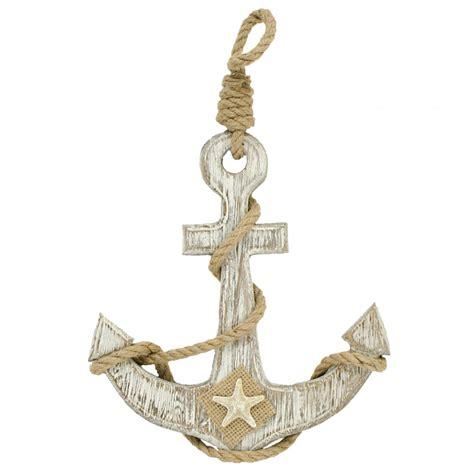 "10"" Whitewashed Wooden Anchor [ms319] Craftoutletcom"