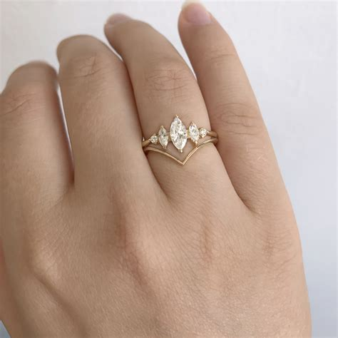 chevron wedding ring v shaped band artemer