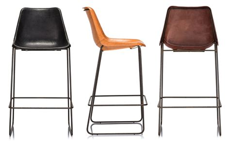 Coco Republic Drexel Brown Bar stools Leather stool